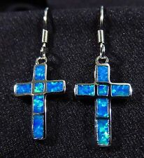 "Sterling 925 Silver SF Hook Earrings Blue Lab Fire Opal CROSS 1 1/4"" Drop"