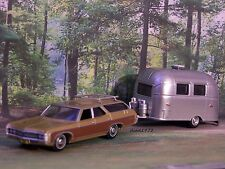 1969 69 CHEVY KINGSWOOD WAGON + AIRSTREAM CAMPER  1/64 SCALE COLLECTIBLE MODELS