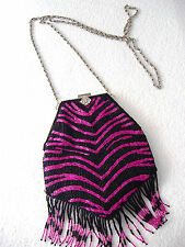 NEW ACCESSORIZE BLACK AND FUCHSIA 1920's STYLE PARTY BEADED PURSE