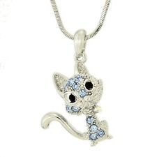 "W Swarovski Crystal Cat Pet Kitten Kitty Blue Pendant Necklace Jewelry 18"" Chain"