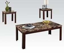 Acme Furniture 80319 Finely 3Pc Coffee/End Table, Brown Faux Marble, Cherry Leg