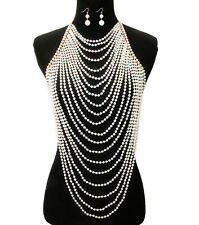 "16"" gold cream pearl choker necklace 1.75"" earrings collar body chain armor vest"
