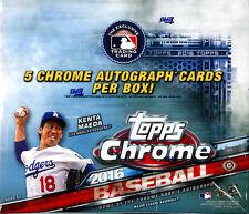 2016 Topps Chrome Baseball SEALED HTA Hobby JUMBO BOX (5 Autos/box avg)