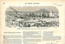 Régatte Internationale Regatta Nantes France GRAVURE ANTIQUE PRINT 1874