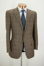 ERMENEGILDO ZEGNA Trofeo Brown Puppytooth Blue Plaid Sport Coat - 48R EU 38R US