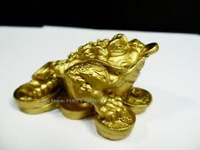 Lucky Feng Shui Brass Tone Chinese Money Wealth Fortune 3 Leg Coin Frog Toad