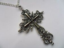 Large Silver Patterned Crucifix // Cross Silver Curb Chain Necklace b