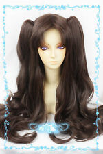 Fate Stay Night Tohsaka Rin 80cm Dark Brown Cosplay Wig 2clips wavy Ponytail HOT