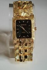 Geneva gold Finish Nugget style bracelet fashion watch