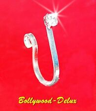 Bollywood Nasenclips Nasenring Strass KEIN PIERCING Fake Piercing Silber Farbe