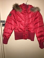 Jacket Puffer Ski Vintage Triple Fat Goose Red With Fox Fur On Hood Ribbed Cuff