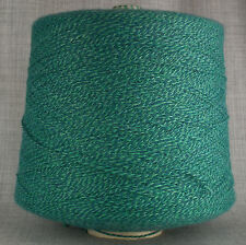 GREEN TWEED WOOL BLEND 3 PLY KNITTING YARN 1,200g CONE 24 BALL HAND MACHINE KNIT