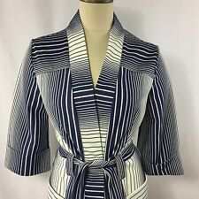 Vintage Navy Blue and White Cardigan Top Belted Nautical Large 3/4 Sleeve