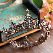 Baroque Bridal Jewelry Wedding Crystal Pearl Queen Crown Tiaras Headband Black