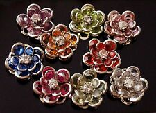 10x strass fleur perle charms pendentifs flat back mixed 17mm (TSC92)