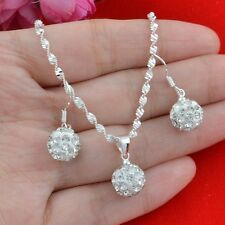925 silver white crystal Fashion Necklace Pendant+earring jewelry set N-632
