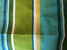 TURQUOISE APPLE GREEN ROYAL BLUE AND MUSTARD OUTDOOR STRIPE UPHOLSTERY FABRIC