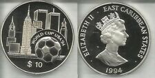 1994 East Caribbean States Large Silver Proof $10 World Cup Soccer