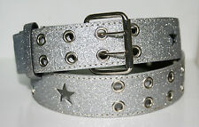 New Ladies Beautiful Glitter Silver Fashion Belt Western Line Dance Fancy Dress