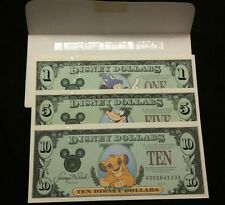 1997 DISNEY DOLLARS  $1 $5 AND $10 CRISP UNCIRCULATED  MICKEY GOOFY  SIMBA