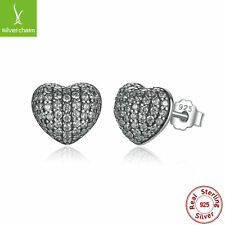 Authentic 925 Sterling Pave Puffe LOVE Heart Clear Stud Earring For Women Luxury