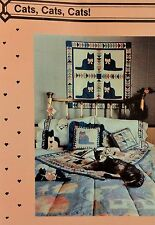 1985 Primitive Cats Cats Cats Sm Quilt CRAFT SEWING PATTERN 36x43 Crib Quilt