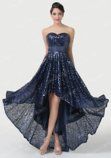 SEQUINS Long Semi Party Evening Formal Gowns Bridesmaid Prom High-Low Sexy Dress