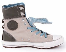 CONVERSE Gray ELSIE ROLLDOWN X-Hi Top LEATHER & SUEDE SNEAKERS Womens Shoes Sz 9