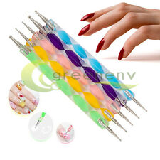 5pcs Nail Art Pen Marbleizing Dotting Manicure Tools Painting Drawing Polish USA
