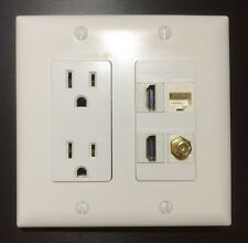 HDTV Wall Plate 2 Gang Power Outlet 15A 125V 2x HDMI 1x Coax 1x Ethernet Cat5 WH