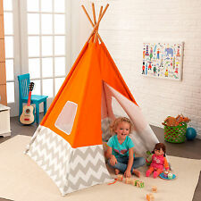 KidKraft Kids Child Deluxe Indoor Play Teepee in Orange and Grey Chevron