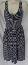 """ANN TAYLOR LOFT"" BLUE STRIPED CAREER CASUAL OPEN BACK SEXY DRESS SIZE: XS NWT"