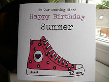 Handmade Personalised Sneaker Trainer Birthday Card Teen Daughter Niece 12 13 16