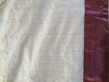 Gorgeous Laura Ashley Design Service grey silk Curtains & grape trim 206cm wide
