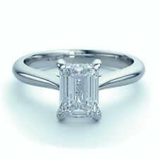 18k White Gold 0.65Ct Emerald Cut Diamond Solitaire Engagement Ring