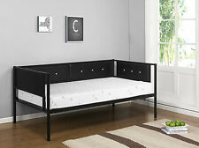 Kings Brand Black Metal Upholstered Day Bed (Daybed) Frame With Metal Slats ~New