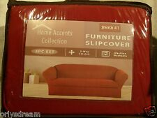 STRETCH FIT 3 Pcs Furniture Slipcover Set, Sofa+Loveseat+Chair Covers - BURGUNDY