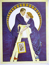 Coles Phillips FADEAWY GIRL & BOY HANGING PICTURES 1912 Antique Print Matted