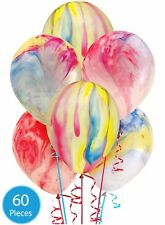 "60 x 9"" Marble Party Latex Balloons Rainbow Swirl Funky Effect Birthday Wedding"