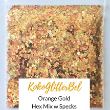 Holographic Orange Gold Glitter Mix Hex | 1 TSP | Acrylic Gel Nail Art Design