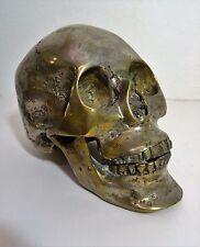 Ancien Crane Vanité bronze argenté signé - Skull sculpture