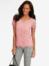NEW $119 TALBOTS Pink Amherst Lace Cotton Blend Top,Shirt Sz 2P,2 Petite