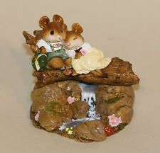 Wee Forest Folk Mountain Stream FS-04 Mice Sitting Log Over Stream Lederhosen