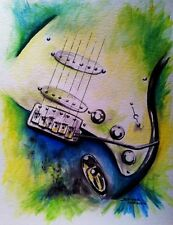 Electric Guitar, Original Watercolor by Jennifer Doehring