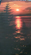 1972 sunset over lake with pine trees nature vintage new  NOS poster HBX44