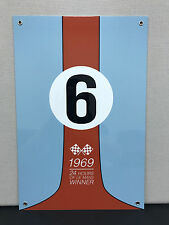 Gulf racing advertising sign oil gas le mans 1969 ford gt40