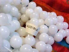 Vtg 20 WHITE MILK GLASS ROUND BEADS RETRO CHARM FROM AUSTRIA 9mm :D #032914u
