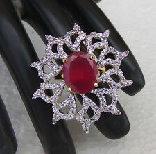 New Latest Diamante Jewelry Indian American Global Fashion Ruby Ring Adjustable