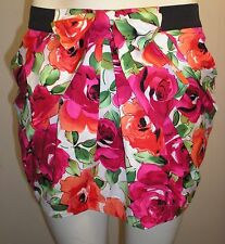 Boohoo Floral Red/ Orange Bow front Skirt with pockets. Size 8.BNWT