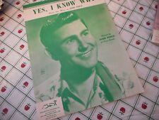 Webb Pierce Yes I Know You 1956 Photo Sheet Music